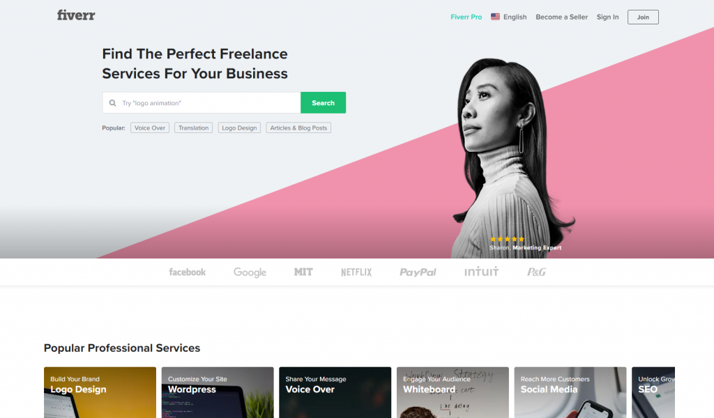 Fiverr Homepage Freelancer Website Script Example
